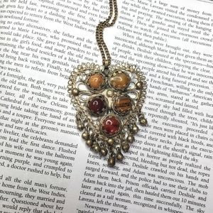 Vintage Gemstone Gypsy Filigree Heart Necklace